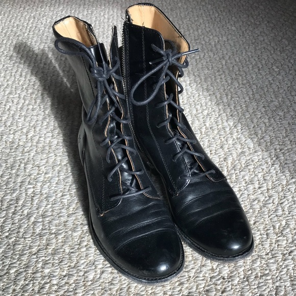 23b11582f6b9 Frye Shoes - Black Frye melissa short combat boots